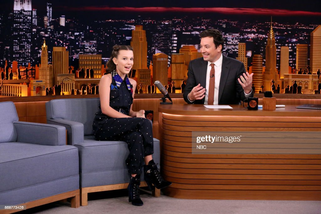 Actress Millie Bobby Brown during an interview with host Jimmy Fallon on October 31, 2017 --