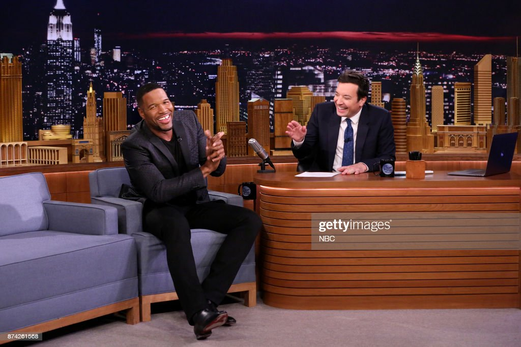 Michael Strahan during an interview with host Jimmy Fallon on November 14, 2017 --