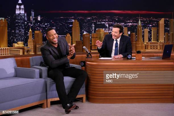 Michael Strahan during an interview with host Jimmy Fallon on November 14 2017