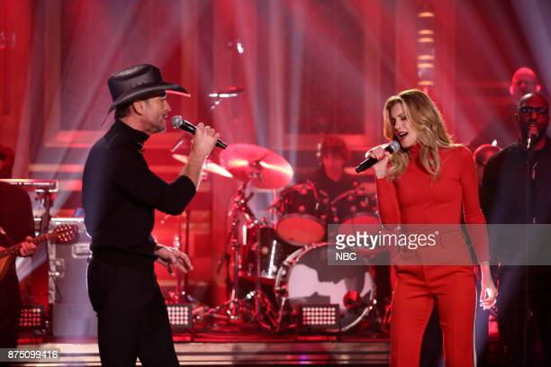Singers Tim McGraw and Faith Hill perform 'Break First' on November 16 2017
