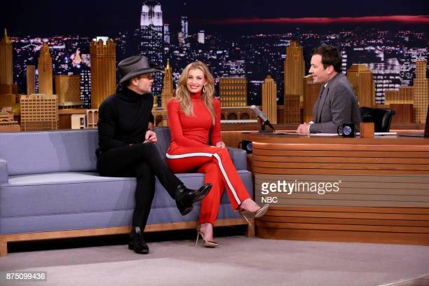 Singers Tim McGraw Faith Hill during an interview with host Jimmy Fallon on November 16 2017