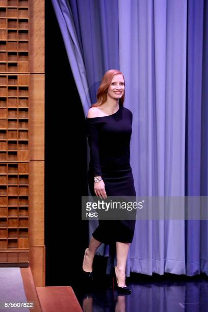 Actress Jessica Chastain arrives for an interview on November 17 2017