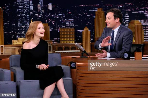 Actress Jessica Chastain during an interview with host Jimmy Fallon on November 17 2017