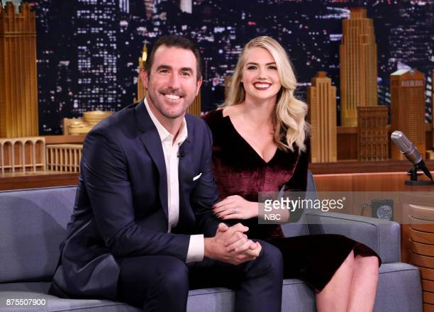 Athlete Justin Verlander Model/Actress Kate Upton during an interview on November 17 2017