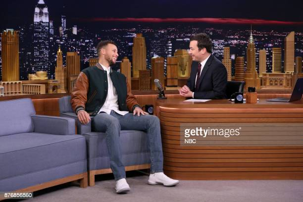 Athlete Stephen Curry during an interview with host Jimmy Fallon on November 20 2017