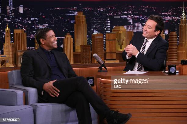 Actor Denzel Washington during an interview with host Jimmy Fallon on November 22 2017