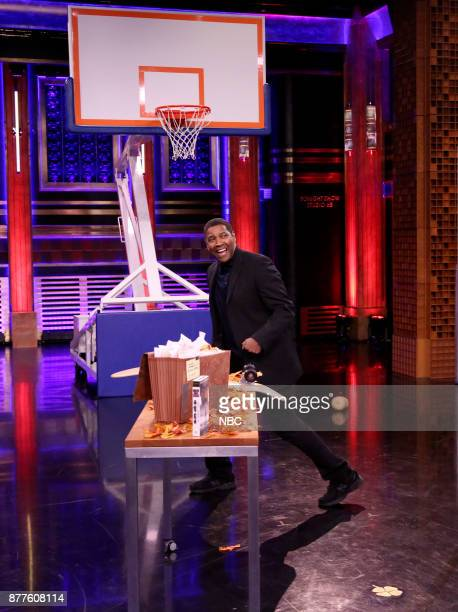 Actor Denzel Washington during 'Random Object Shootout' on November 22 2017
