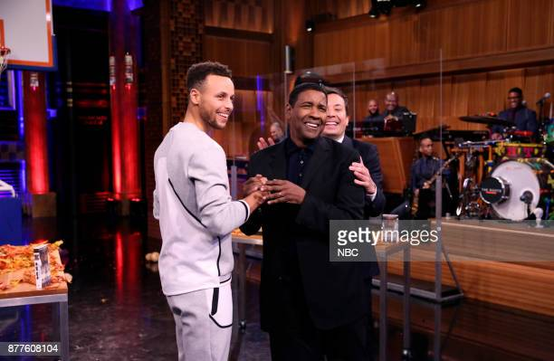 Stephen Curry Denzel Washington Jimmy Fallon during 'Random Object Shootout' on November 22 2017