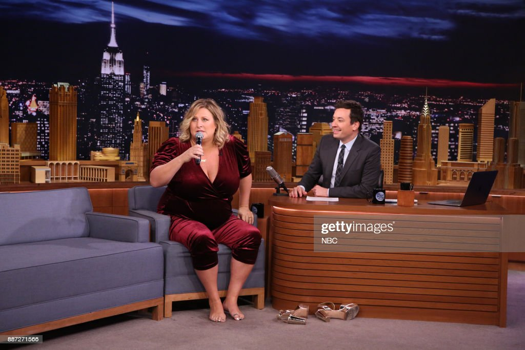 Comedian Bridget Everett performs 'The Climb' during an interview with host Jimmy Fallon on December 6, 2017 --