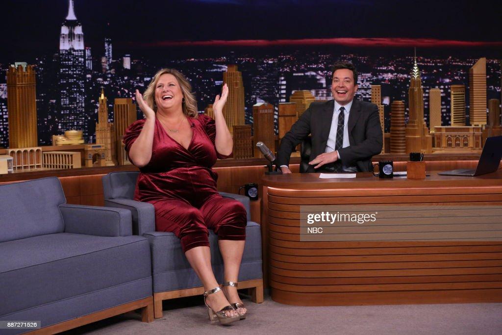 Comedian Bridget Everett with host Jimmy Fallon during an interview on December 6, 2017 --