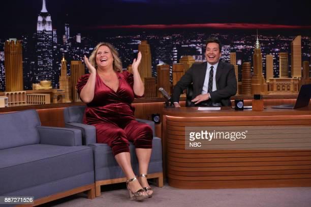 Comedian Bridget Everett with host Jimmy Fallon during an interview on December 6 2017