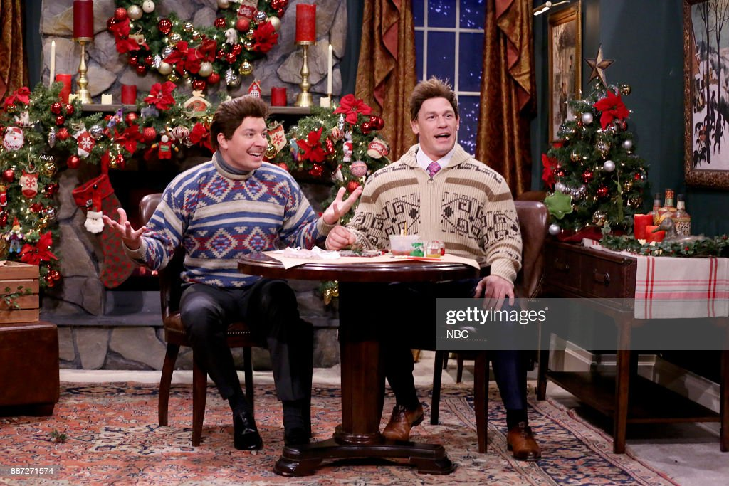 Host Jimmy Fallon with John Cena during 'Mad Lib Theater' on December 6, 2017 --