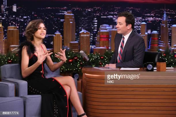 Actress Zendaya during an interview with host Jimmy Fallon on December 11 2017