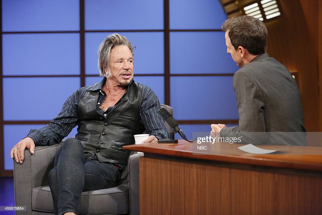 Actor <a gi-track='captionPersonalityLinkClicked' href=/galleries/search?phrase=Mickey+Rourke+-+Actor&family=editorial&specificpeople=208916 ng-click='$event.stopPropagation()'>Mickey Rourke</a> during an interview with host <a gi-track='captionPersonalityLinkClicked' href=/galleries/search?phrase=Seth+Meyers&family=editorial&specificpeople=618859 ng-click='$event.stopPropagation()'>Seth Meyers</a> on August 123, 2014 --