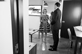 MEYERS Episode 089 Pictured Actress Amy Sedaris talks with host Seth Meyers backstage on September 2 2014