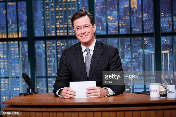 Talk show host Stephen Colbert does an introduces Gwen Stefani on September 3 2014