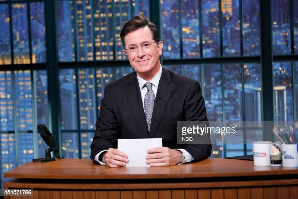 Talk show host Stephen Colbert does an introduces Gwen Stefani on September 3 2014