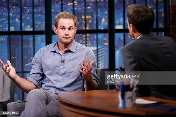 Tennis star Andy Roddick during an interview with host Seth Meyers on September 3 2014