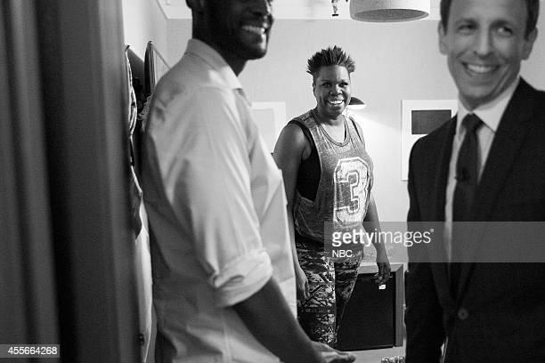 MEYERS Episode 091 Pictured Comedian Leslie Jones talks with host Seth Meyers backstage on September 4 2014