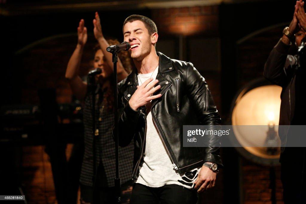 Musical guest Nick Jonas performs on September 11 2014