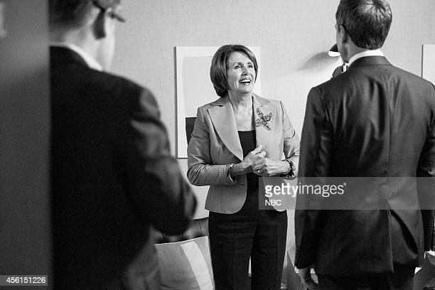 MEYERS Episode 096 Pictured Congresswoman Nancy Pelosi talks with host Seth Meyers backstage on September 15 2014