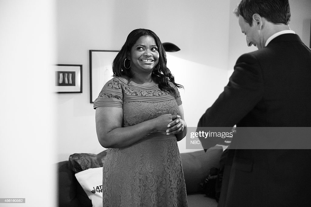 Actress <a gi-track='captionPersonalityLinkClicked' href=/galleries/search?phrase=Octavia+Spencer&family=editorial&specificpeople=2538115 ng-click='$event.stopPropagation()'>Octavia Spencer</a> talks with host <a gi-track='captionPersonalityLinkClicked' href=/galleries/search?phrase=Seth+Meyers&family=editorial&specificpeople=618859 ng-click='$event.stopPropagation()'>Seth Meyers</a> backstage on September 16, 2014 --
