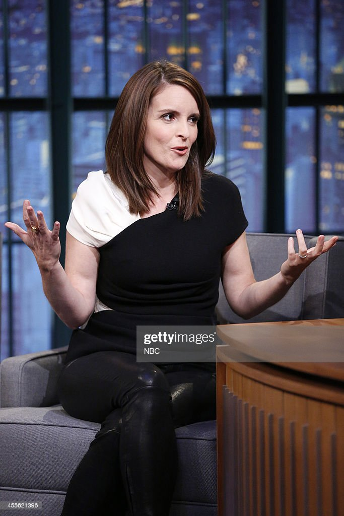 Actress <a gi-track='captionPersonalityLinkClicked' href=/galleries/search?phrase=Tina+Fey&family=editorial&specificpeople=206753 ng-click='$event.stopPropagation()'>Tina Fey</a> during an interview on September 17, 2014 --
