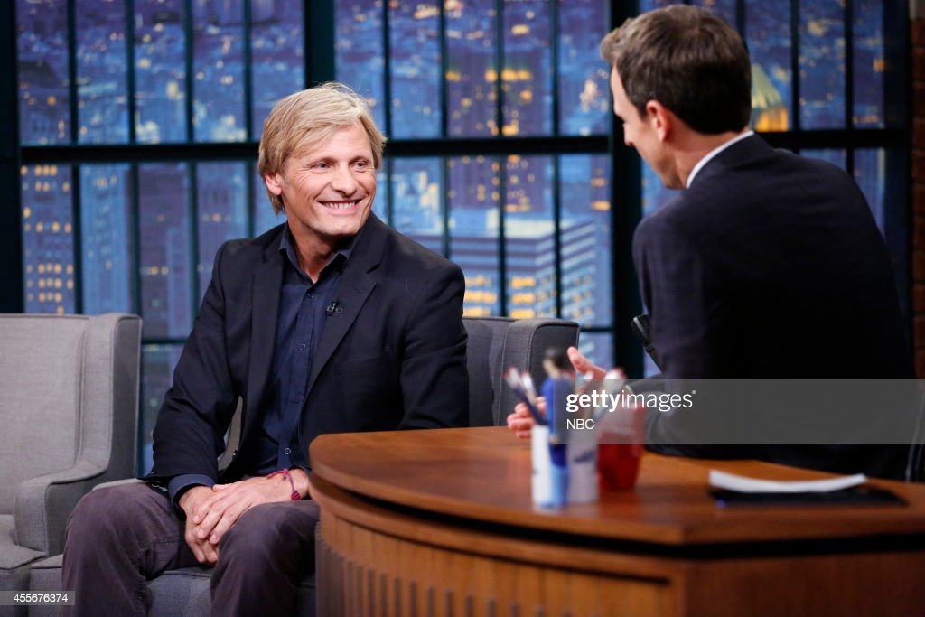Actor <a gi-track='captionPersonalityLinkClicked' href=/galleries/search?phrase=Viggo+Mortensen&family=editorial&specificpeople=239525 ng-click='$event.stopPropagation()'>Viggo Mortensen</a> during an interview with host <a gi-track='captionPersonalityLinkClicked' href=/galleries/search?phrase=Seth+Meyers&family=editorial&specificpeople=618859 ng-click='$event.stopPropagation()'>Seth Meyers</a> on September 18, 2014 --
