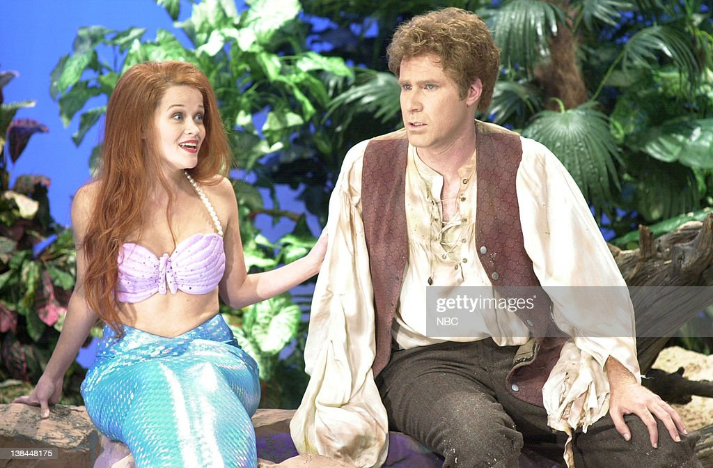LIVE -- Episode 1 -- Air Date -- Pictured: (l-r) Reese Witherspoon as The Little Mermaid, Will Ferrell as the sailor, during 'The Little Mermaid' skit on September 29, 2001
