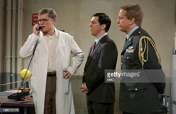 LIVE Episode 1 Aired Pictured Matt Damon as Dr Flemming Chris parnell as Congressman Applegate Darrell Hammond as General Mills during 'The Sex...