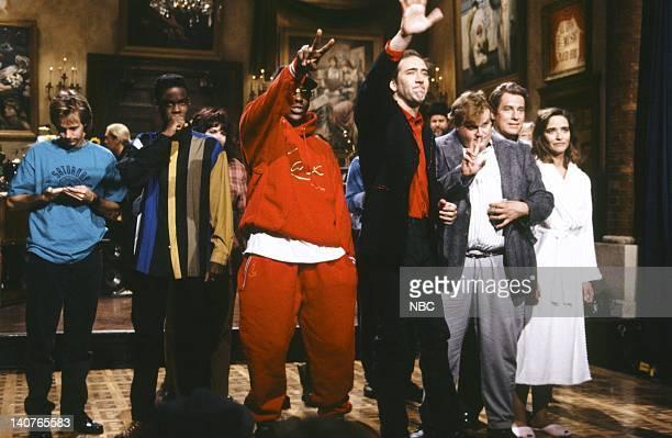 Dana Carvey Chris Rock Bobby Brown Nicolas Cage Chris Farley Phil Hartman Jan Hooks on September 26 1992 Photo by Al Levine/NBCU Photo Bank