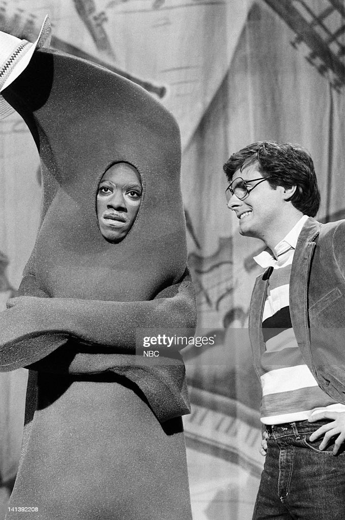 Eddie Murphy as Gumby and Gary Kroeger as director during the 'Gumby Pokey' skit on October 8 1983