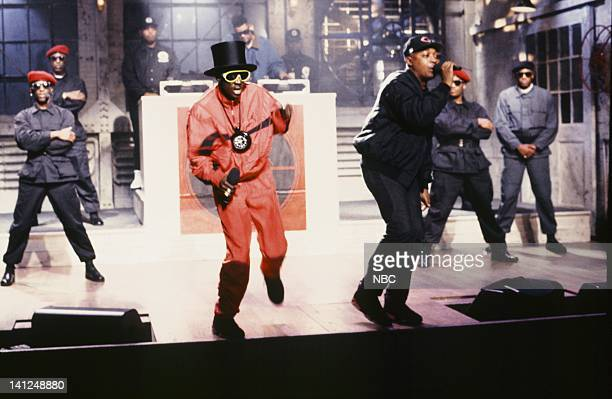 Flavor Flav Chuck D Musical guest Public Enemy performs on September 28 1991 Photo by Raymond Bonar/NBCU Photo Bank