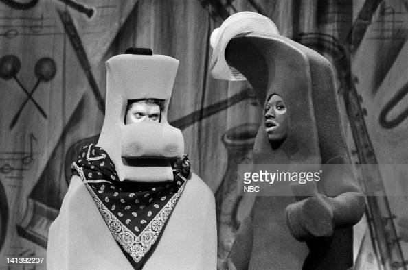 Joe Piscopo as Pokey and Eddie Murphy as Gumby during the 'Gumby Pokey' skit on October 8 1983