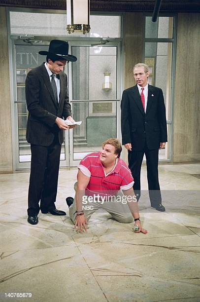 Kevin Nealon as Roy Chris Farley Dana Carvey as Ross Perot Nicolas Cage during the 'Powerful Perot' skit on September 26 1992 Photo by Al Levine/NBCU...