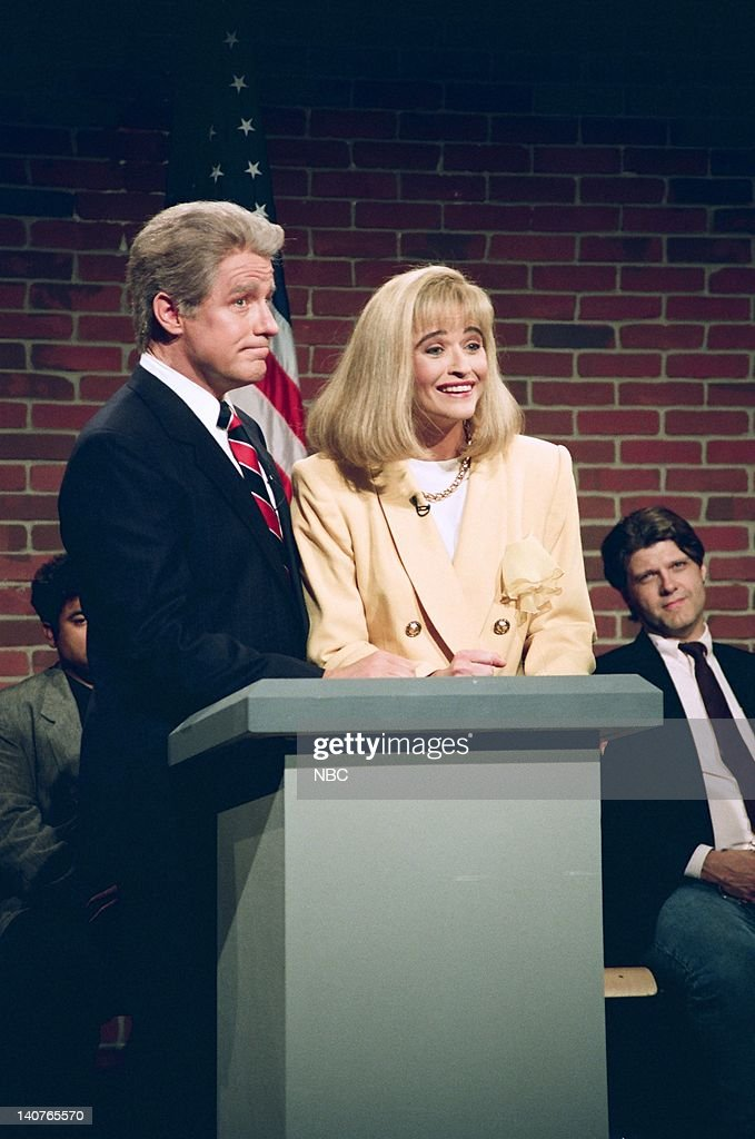 Phil Hartman as <a gi-track='captionPersonalityLinkClicked' href=/galleries/search?phrase=Bill+Clinton&family=editorial&specificpeople=67203 ng-click='$event.stopPropagation()'>Bill Clinton</a>, <a gi-track='captionPersonalityLinkClicked' href=/galleries/search?phrase=Jan+Hooks&family=editorial&specificpeople=1544319 ng-click='$event.stopPropagation()'>Jan Hooks</a> as <a gi-track='captionPersonalityLinkClicked' href=/galleries/search?phrase=Hillary+Clinton&family=editorial&specificpeople=76480 ng-click='$event.stopPropagation()'>Hillary Clinton</a> during the 'Nightline' skit on September 26, 1992 -- Photo by: Al Levine/NBCU Photo Bank