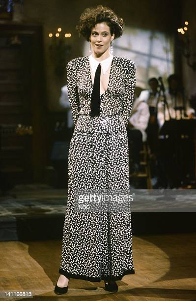 Sigourney Weaver during the monologue on October 11 1986 Photo by Reggie Lewis/NBC/NBCU Photo Bank
