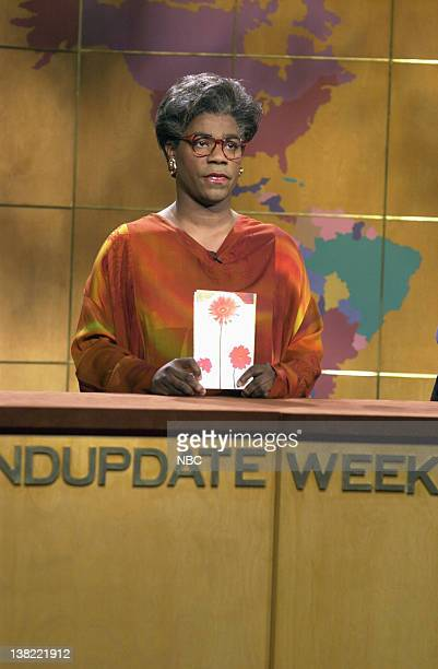 LIVE Episode 10 Air Date Pictured Tracy Morgan as Maya Angelou during 'Weekend Update' on January 12 2002