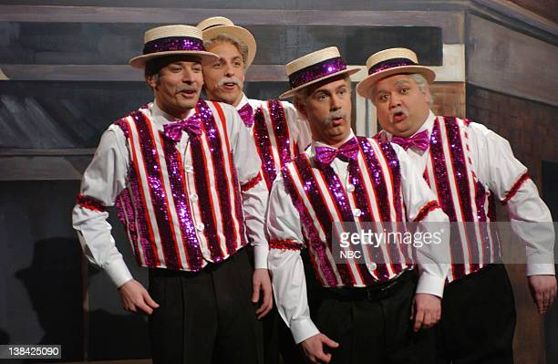 LIVE Episode 10 Air Date Pictured Jimmy Fallon Seth Meyers Chris Parnell Horatio Sanz during the monologue on January 17 2004