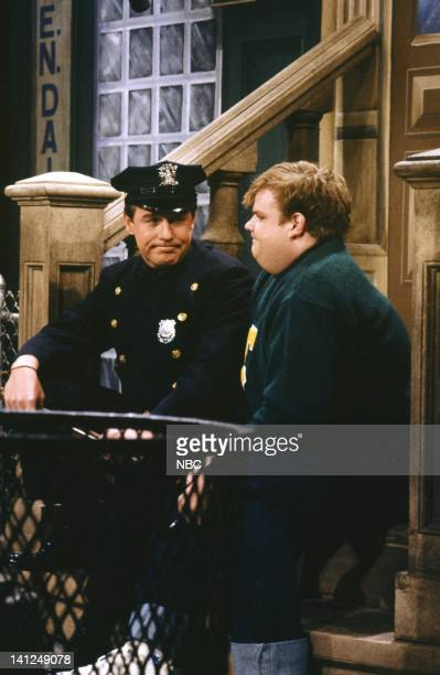 Phil Hartman as Officer Miller Chris Farley as Billy during the 'Officer Miller' skit on January 12 1991 Photo by Raymond Bonar/NBCU Photo Bank
