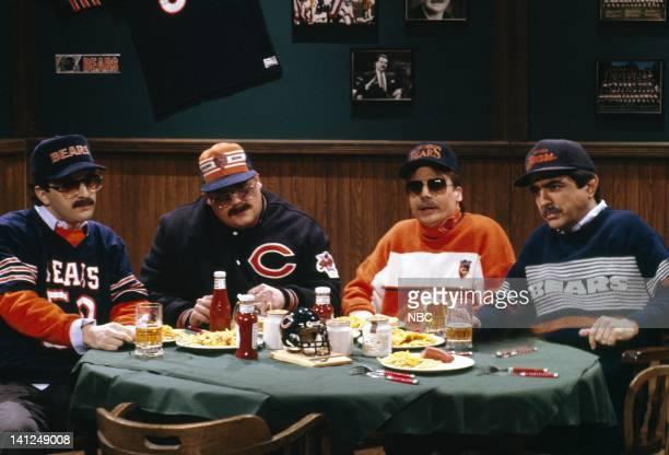 Robert Smigel as Carl Wollarski Chris Farley as Todd O'Connor Mike Myers as Pat Arnold Joe Mantegna as Bill Swerski during the 'Bill Swerski's Super...