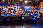 MEYERS Episode 100 Pictured Host Seth Meyers talks to the audience before a taping on September 22 2014