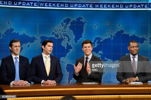Alex Moffat as Eric Trump Mikey Day as Donald Trump Jr Colin Jost and Michael Che from Studio 8H on August 10 2017