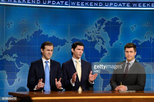 Alex Moffat as Eric Trump Mikey Day as Donald Trump Jr and Colin Jost from Studio 8H on August 10 2017