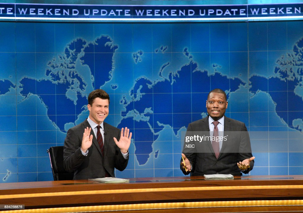 Colin Jost and Michael Che at the Weekend Update desk on August 17, 2017 --