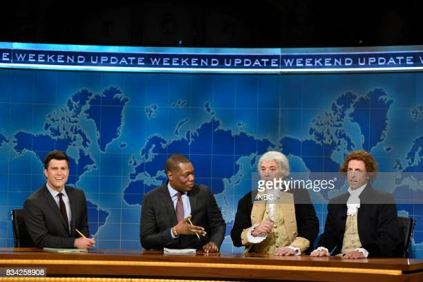 Colin Jost Michael Che Jimmy Fallon as George Washington and Seth Meyers as Thomas Jefferson at the Weekend Update desk on August 17 2017