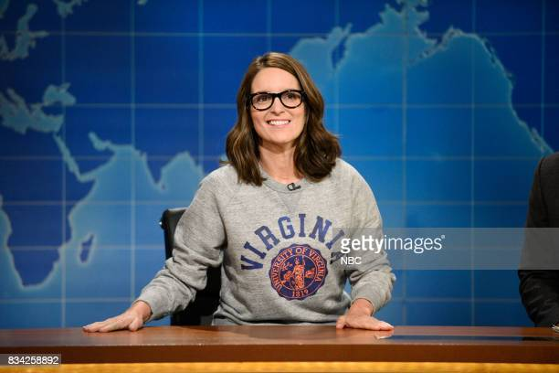 Tina Fey at the Weekend Update desk on August 17 2017