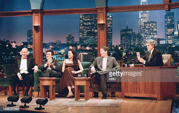 Actor Al Lewis actor Gabriel Byrne actress Lucy Lawless comedian Chris Bliss during an interview with host Jay Leno on October 30 1996