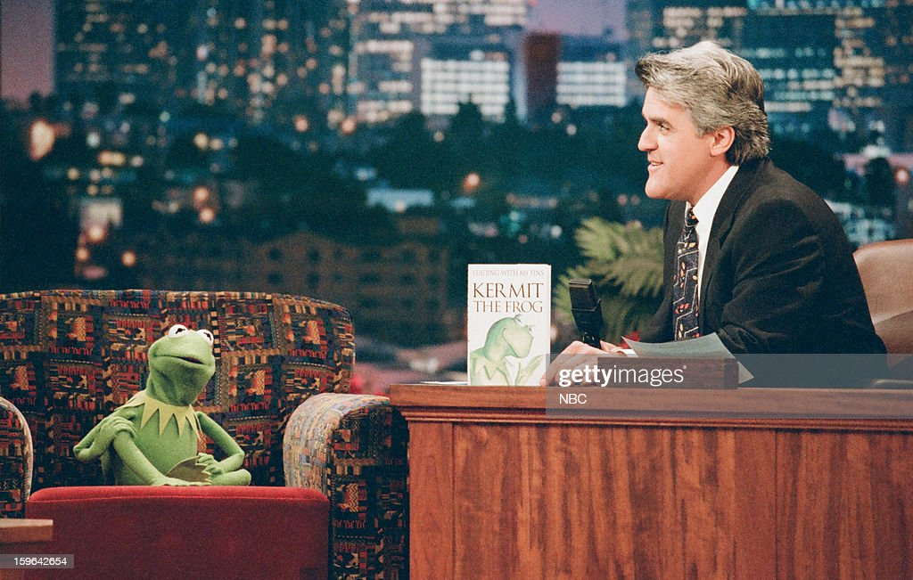 Kermit the Frog during an interview with host <a gi-track='captionPersonalityLinkClicked' href=/galleries/search?phrase=Jay+Leno+-+Television+Host&family=editorial&specificpeople=156431 ng-click='$event.stopPropagation()'>Jay Leno</a> on November 12, 1996 --