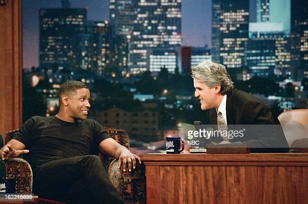 Actor Denzel Washington with host Jay Leno on December 12 1996